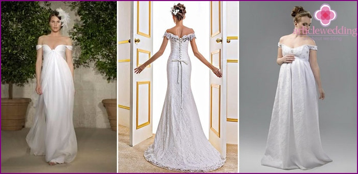 Straight wedding dresses with pants shoulders