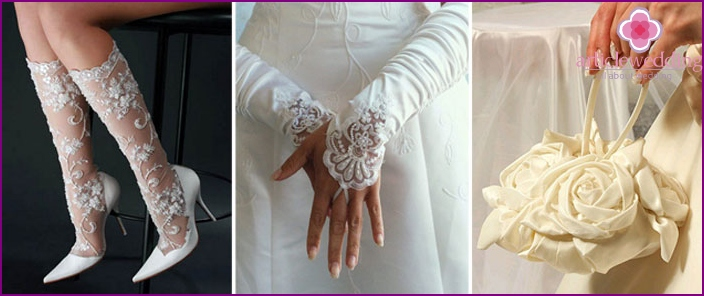 Accessories for the bride along with bared shoulders