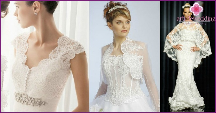 Openwork capes for brides