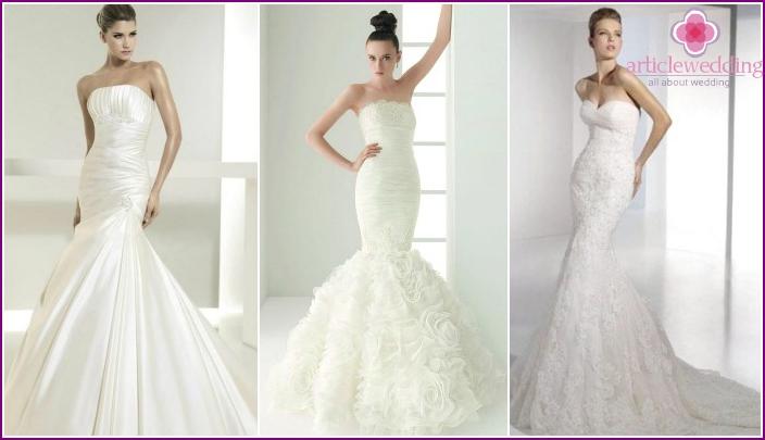 "Photos lush wedding dress with a skirt ""the little mermaid"""