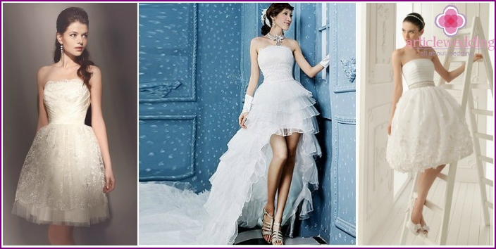 Photos short wedding dress with lush skirt