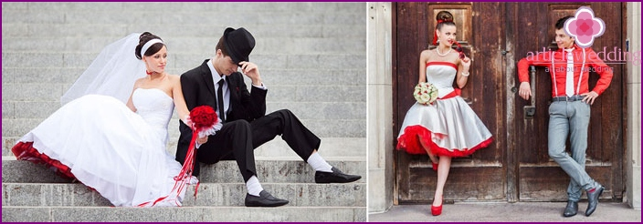 Bright wedding dress with scarlet petticoats
