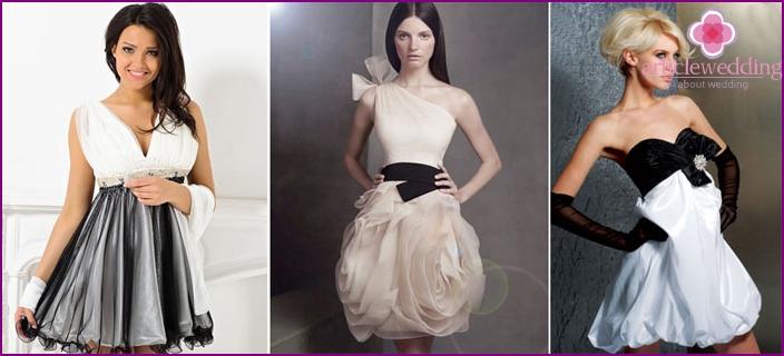White and black theme wedding dress