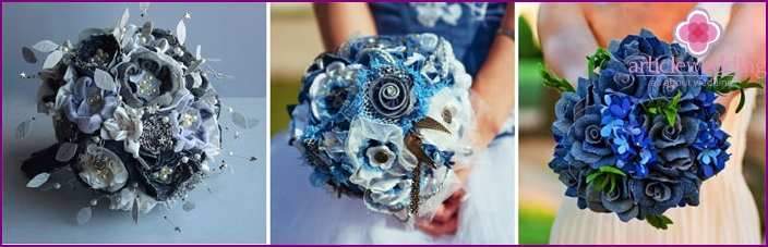 Bridal bouquet on wedding denim
