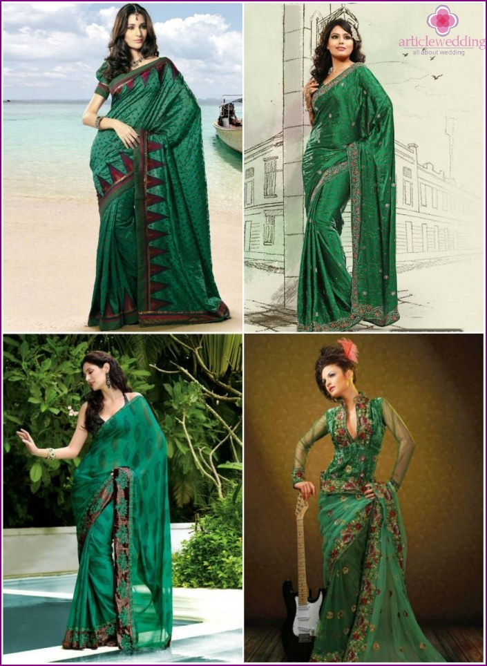 A variety of green hues of the Indian sari