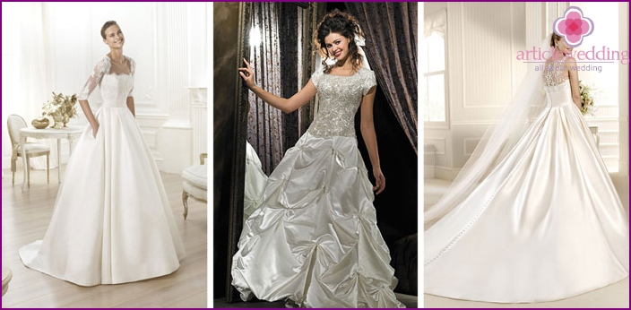 Dresses with lace top and satin skirt for wedding