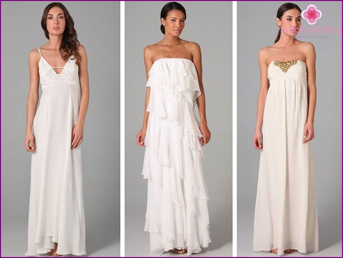 Variants of beach wedding dresses long