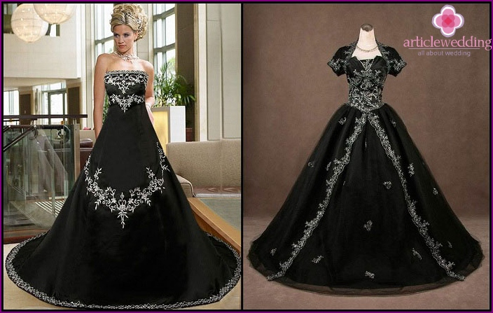 The Gothic style of dress of the bride