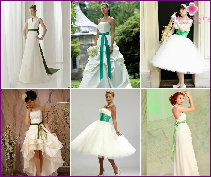 White bride dress with a green belt