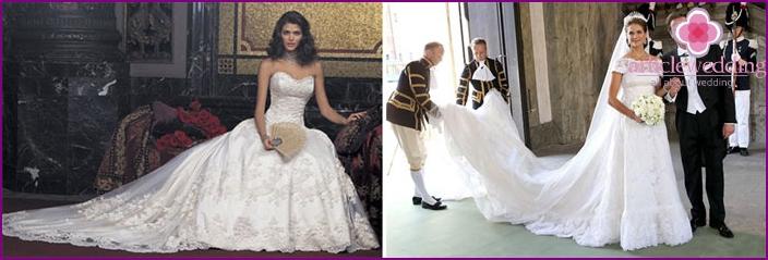 Royal plume-tail dress bride