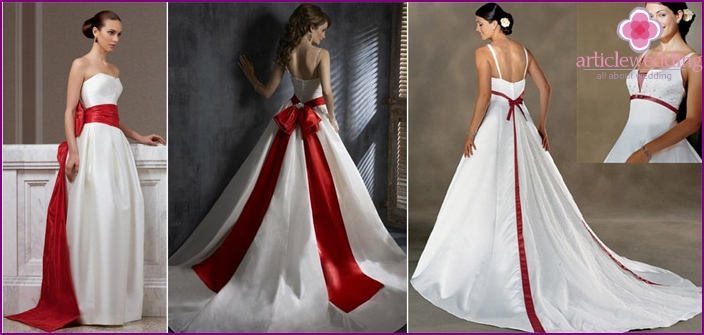 Wedding dress with red loop