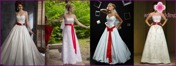 Wedding dress with a red belt