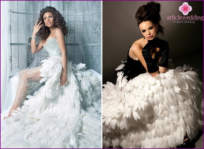 Wedding dress with a skirt of feathers