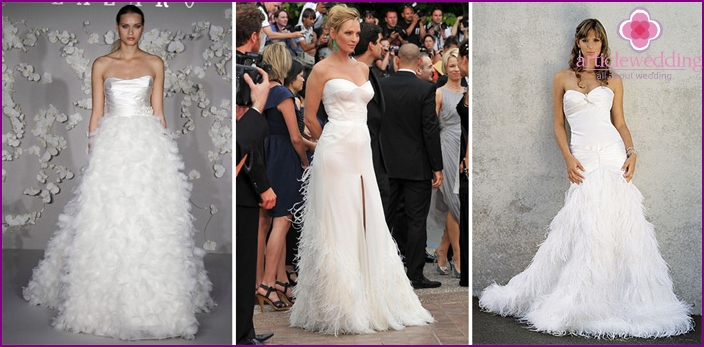 Wedding dresses of feathers with spectacular skirts
