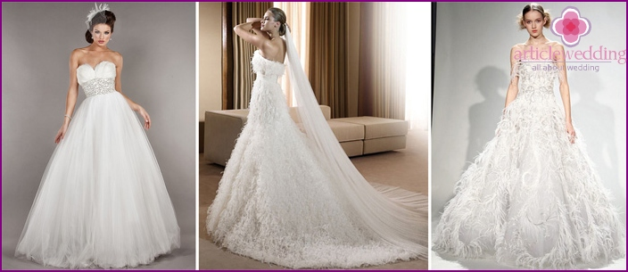 Wedding dress with a neckline of feathers
