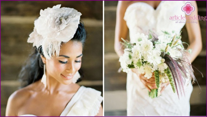 Stylish accessories for wedding dresses made of feathers
