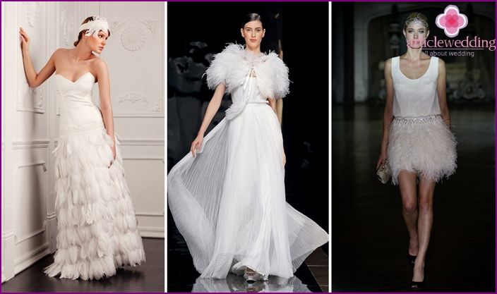 The models of wedding dresses with feathers