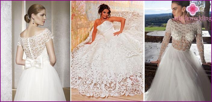 Laces on wedding dress bride
