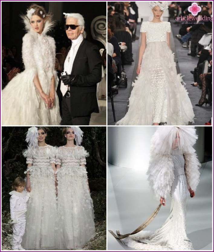 Dresses for the wedding of the swan's feather