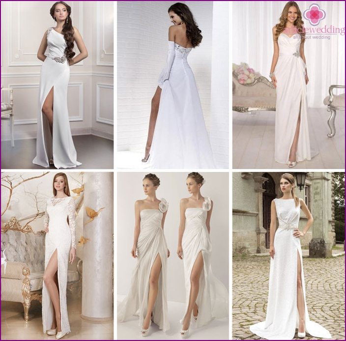 Stylish wedding dress with a long slit