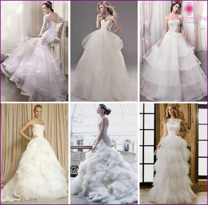 brides along with a multi-layer skirt