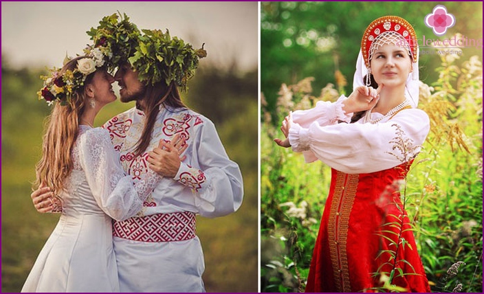 Russian wedding in national colors