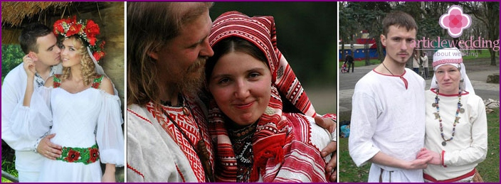 The head of the bride dresses in Slavic style