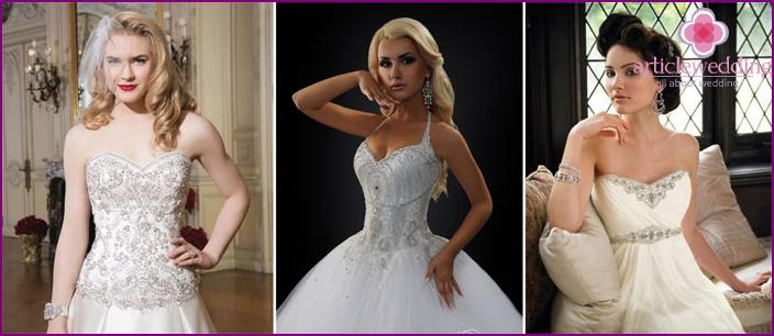 The bodice wedding dress with rhinestones