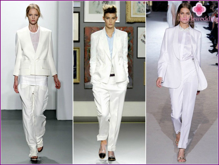 Models of wedding suits with jacket