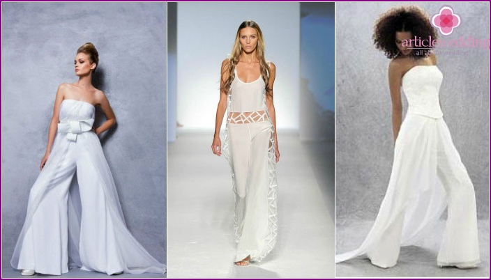 Wedding wear with a skirt-pants