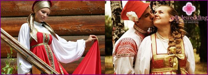 Svatebni Saty V Ruskem Lidovem Stylu Od Soucasnych Designeru Fotografie