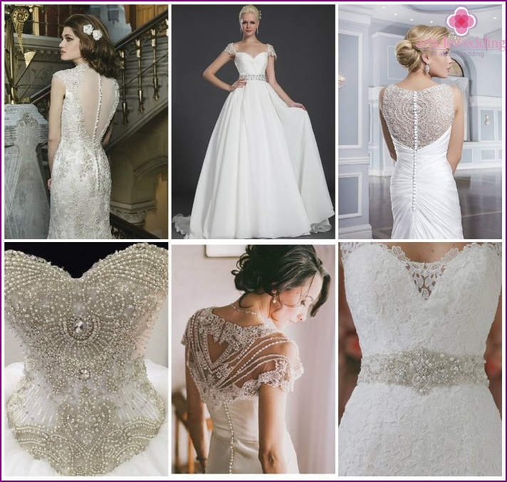 The use of beads in the decoration of the wedding dress