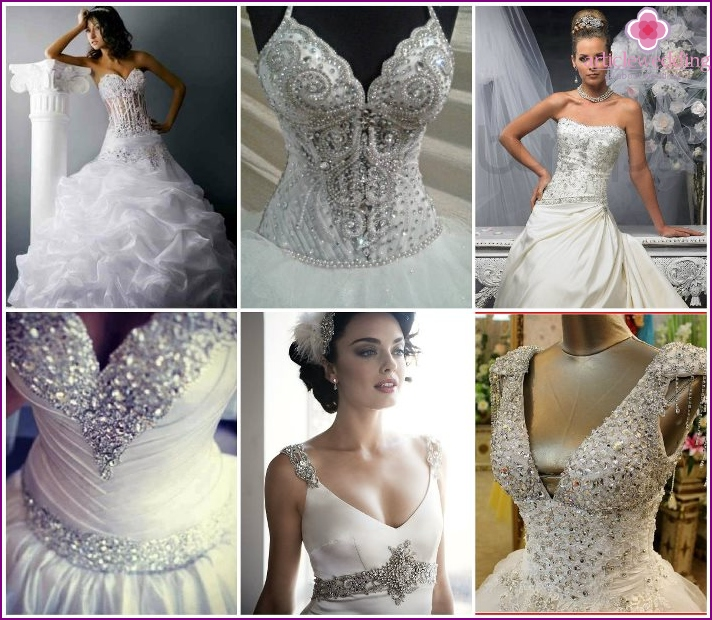 Swarovski stones on wedding dresses
