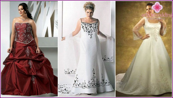 Color models of wedding dresses for pyshechek
