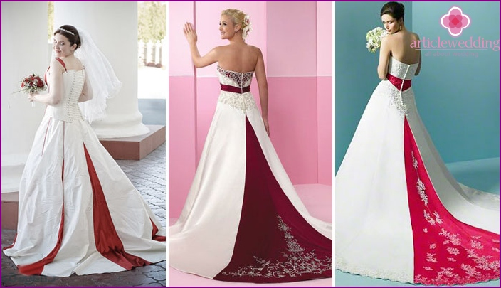 Red plume on a wedding dress: bright accent