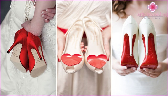 Shoes for wedding red and white tones