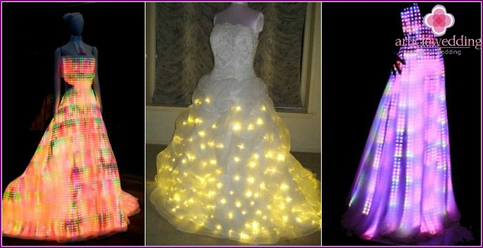 Wedding dress with LEDs