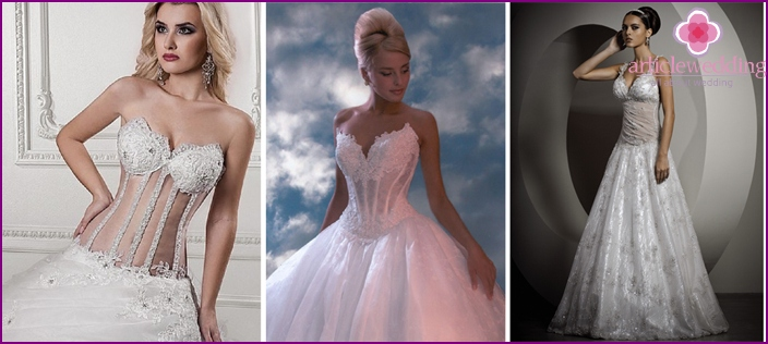 The models of wedding dresses with transparent corset