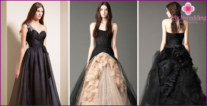 Black and beige color in dresses by Vera Wang