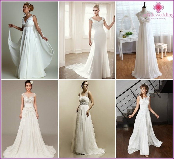 Empire dresses with wide straps for the bride
