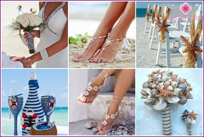RSvadebnye accessories on a beach theme