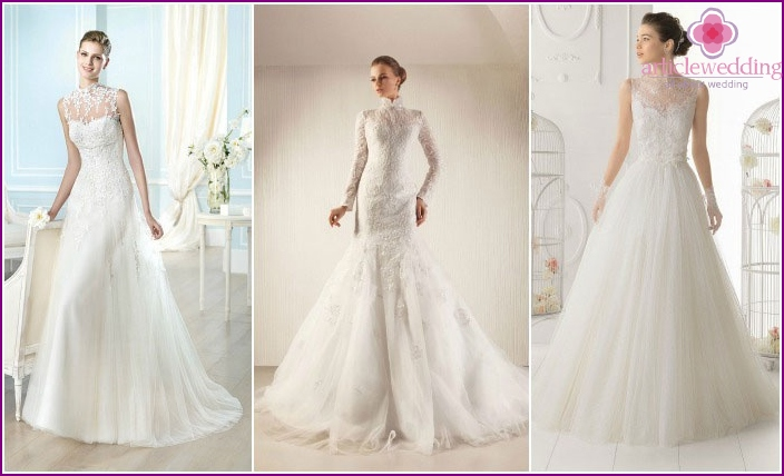 Lacy models of wedding dresses