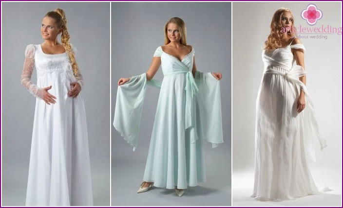 Styles of wedding dresses models for pregnant women