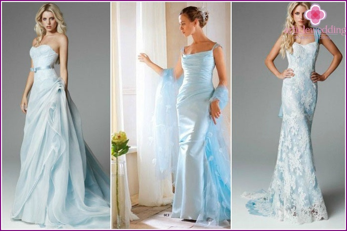 Dresses wedding in shades of blue
