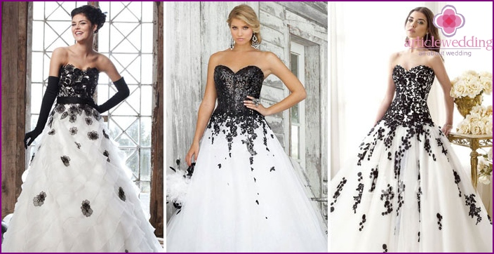 Black and white dress bride
