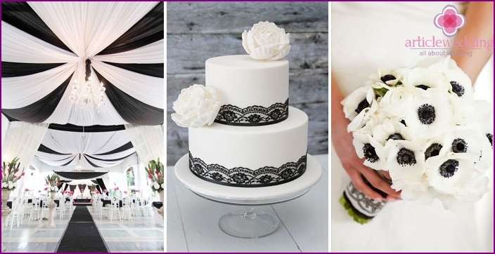 Wedding accessories in black and white