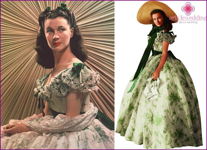 White with green dress Scarlett O'Hara