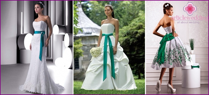 The belt-bow: white green wedding attire