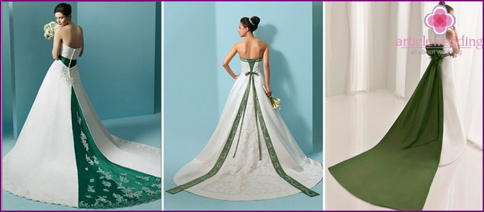 Luxury white dress with a contrasting green train