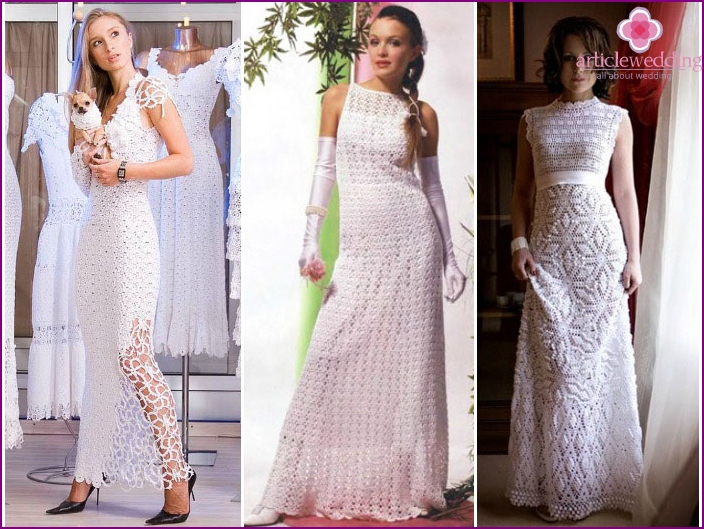Knitted dresses on the wedding with their own hands
